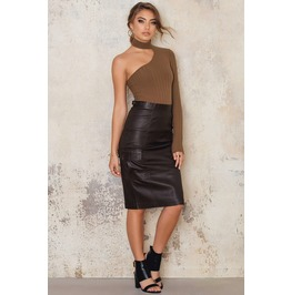 Midi Length Black Leather Pencil Skirt