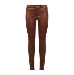Ankle Zip Leather Trousers