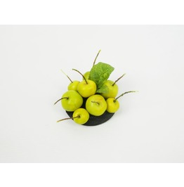 Mini Headpiece Fascinator Hair Clip Green Apples On Black Base