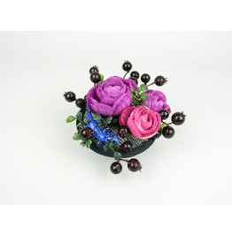 Fascinator Headpiece With Silk Flowers, Berries And Spotted Blue Lizard