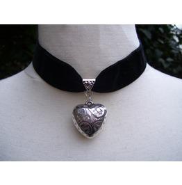 Gothic Steampunk Black Velvet Heart Choker Pendant