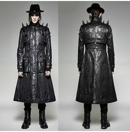 Mens Black Steampunk Vampire Long Coat Gothic Military Overcoat Trench Coat