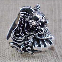 925 Sterling Silver Huge Sinister Evil Clown Jester Ring Size 10.5 Us