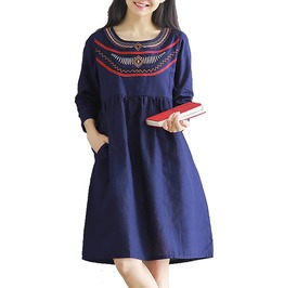 Women Three Quarter Sleeve Kawaii Embroidery Dress Plus Size