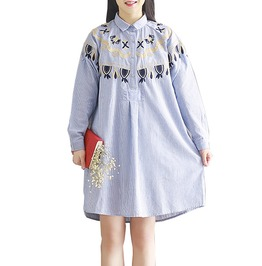 Harajuku Women's Embroidered Stripped Print Shirt Dress Plus Size