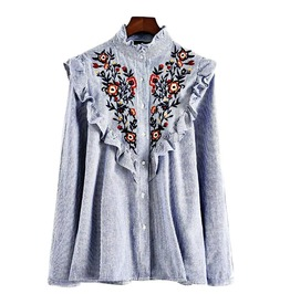 Vintage Embroidered Long Sleeve Striped Ruffle Shirt For Women