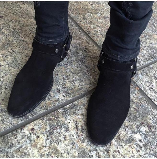 Handmade Men Black Suede Biker Boot