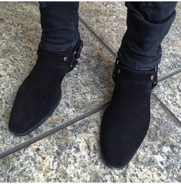 Handmade Men Black Suede Biker Boot, Men Ankle Boot, Men Side Zipper Boot