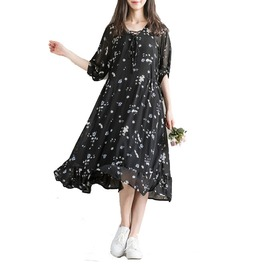 Vintage Short Sleeves Floral Print Casual Dress Plus Size