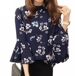 Boho Bell Sleeves Floral Printed Swing Top For Women Plus Size