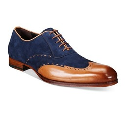 New Handmade Mens Wingtip Tan And Navy Blue Suede And Leather Formal Shoes