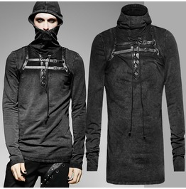 Punk Rave Mens Black Steampunk Hooded Top Long Sleeve Gothic High Quality T