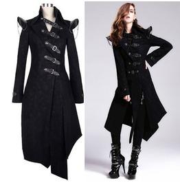 Women Black Skull Vampire Coat Gothic Military Fashion Jacket Trench Coats
