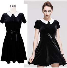 Women Devil Fashion Retro Knee Length Shit Gothic Lolita Velvet Dress W Bel