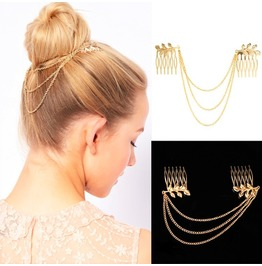 Greek Goddess Bohemian Gold Leaf Hair Comb Clip Cuff Tassel Chain Headpiece