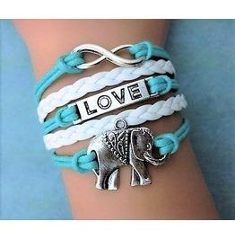 Fashion Retro Bohemian Love Elephant Multilayer Woven Pu Leather Bracelet