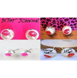 Betsey Johnson Marilyn Lip Collection Xox Faux Pearl Kiss Stud Earrings