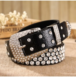 Victorian Charm Faux Leather Women Belt With Rhinestones