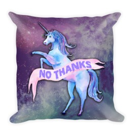 No Thanks Unicorn Pillow