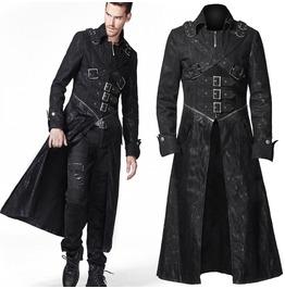 Men Gothic Long Coat Black Denim Punk Rave Trench Coat For Men