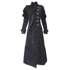 Women Steampunk Ferre Nylon Bondage Coat Gothic Women Trench Long Coat