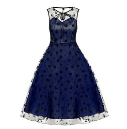 871d011f4f Vintage Retro Goth Flower Skull Sleeveless Mesh Cocktail Swing Dress