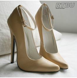 "18cm 7"" Stiletto Leather Like Beige Nude Sharp Toe Mary Jane Ankle Wrap"