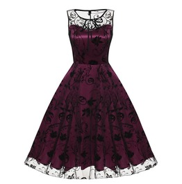298a49a3e7 Vintage Retro Goth Floral Sleeveless Mesh Cocktail Swing Dress
