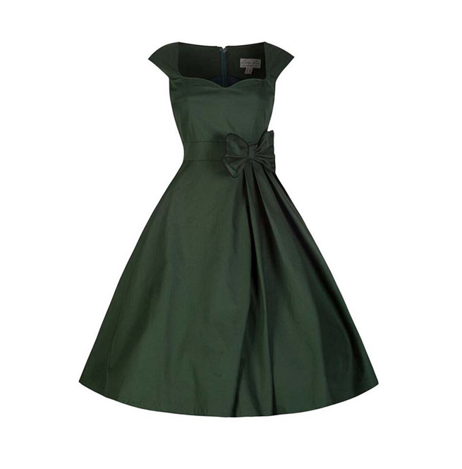 Vintage Retro Rockabilly 50s Classic Pleated Bow Dress Plus Size