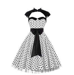 High Neck Polka Dots Audrey Hepburn Vintage Rockabilly Swing Dress