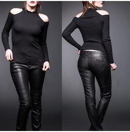 Women Black Short Shirt Gothic Long Sleeves Net Panels Shirt Blouse