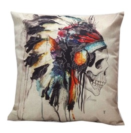 Punk Goth Sugar Skull Day Of The Dead Decorative Throw Pillow Case