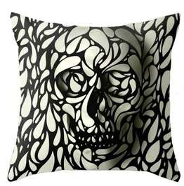 Punk Goth 3 D Skull Decorative Throw Pillow Case