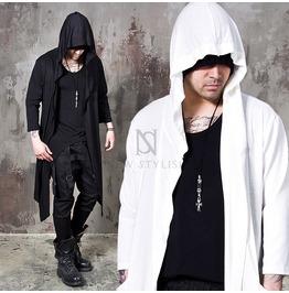 Embossed Quarter Sleeves Asymmetric Hood Cardigan 96