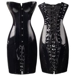 Women Gothic Perfect Body Overbust Steampunk Pvc Cincher Corset Dress