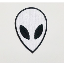 White Alien Iron On Patch.