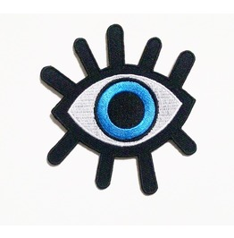 Demon Blue Eye Iron On Patch.
