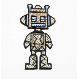 The Robot Embroidered Iron On Patch.