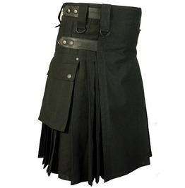 Handmade Custom Utility Cargo Pockets Deluxe Cotton Kilt For Men