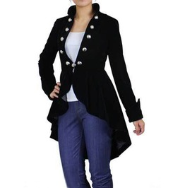 Ladies Gothic Steampunk Coat Black Velvet Women Victorian Vintage Jackets