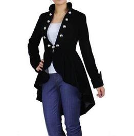 Ladies Gothic Steampunk Coat Black Velvet Women Victorian Vintage Jackets