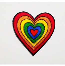 Rainbow Heart Embroidered Patch.