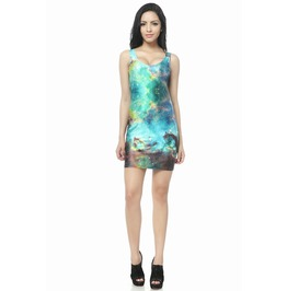 Green Galaxy Dress Tank Tops