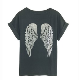 Punk Rock Sequined Wings Top Tees