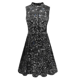 Vintage Goth Black Stars Constellation High Waist A Line Mini Dress