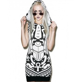 Punk Rock Gothic Harajuku Scarab Zodiac Black Hooded Dress