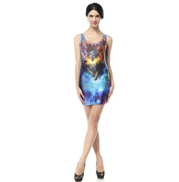 Fantasy Wolf Galaxy Dress Tank Tops