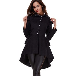 Vintage Gothic Asymmetric Swallow Tailed Long Sleeve Slim Women Overcoat