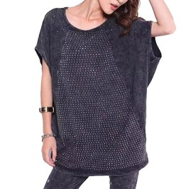 Womens Punk Batwing Sleeve T Shirt With Rivets