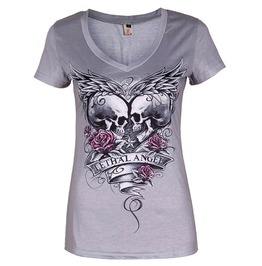 Skull Heads Lethal Angel Short Sleeve Casual Womens Punk Top